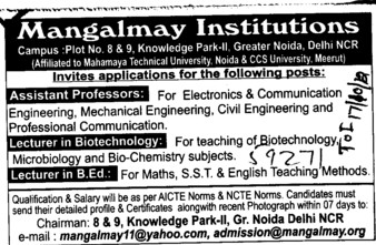 Asstt Professor and Lecturer (Mangalmay Institutions Group)