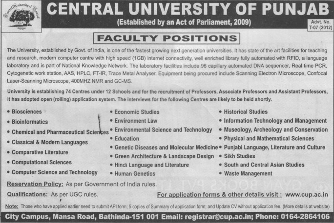Professor, Asstt Professor and Associate Professor (Central University of Punjab)