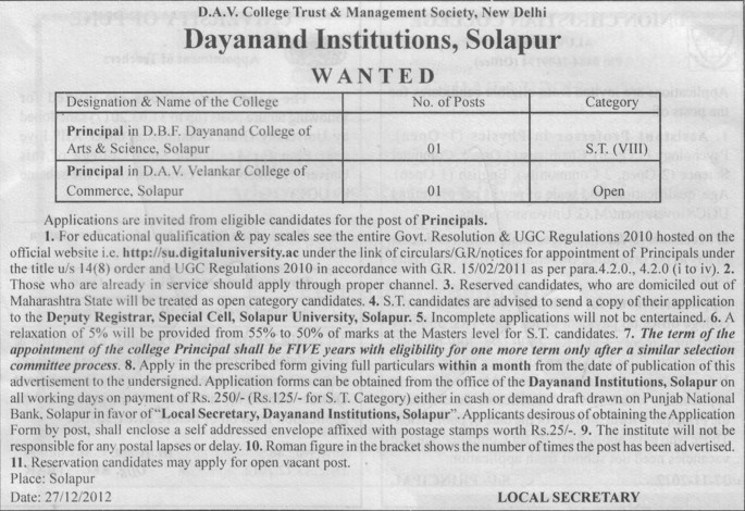 Principal (Dayanand Institutions)