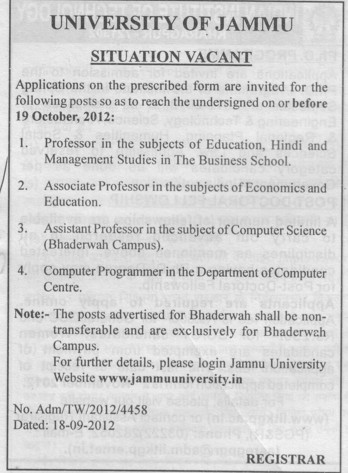 Professor and Computer Programmer (Jammu University)
