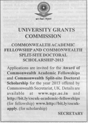 Award of Commonwealth Academic Fellowship (University Grants Commission (UGC))