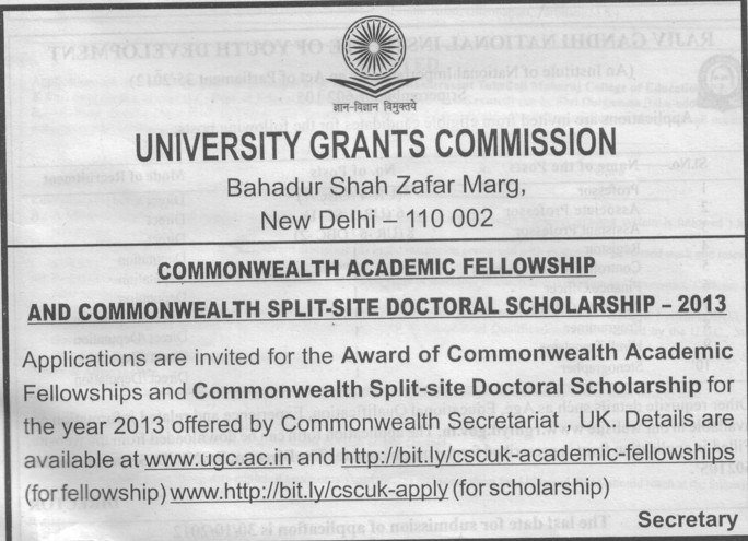 Commonwealth split site doctoral Scholaraship 2013 (University Grants Commission (UGC))