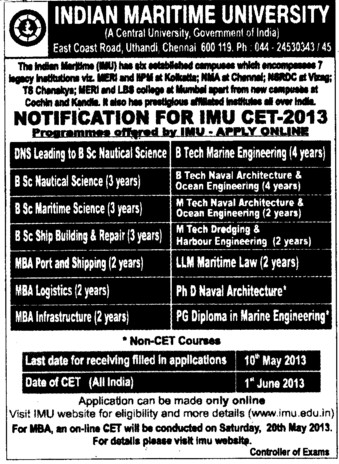 IMU CET 2013 (Indian Maritime University)