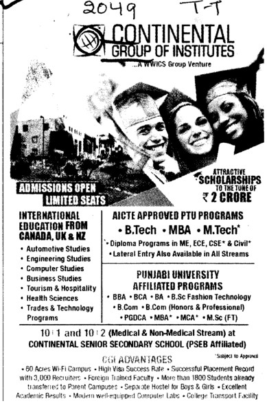 BTech, MBA and MTech (Continental Group Institute Jalvehra)