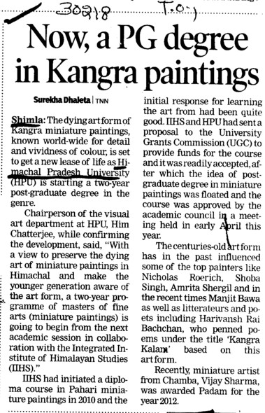 Now, PG degree in Kangra paintings (Himachal Pradesh University)