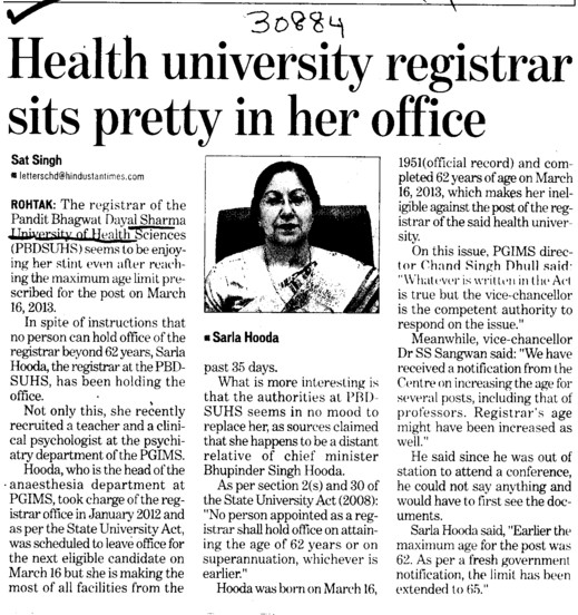 Registrar sits pretty in her office (Pt BD Sharma University of Health Sciences (BDSUHS))