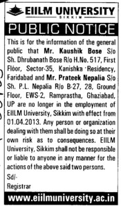 Mr Kaushik Bose no longer employement (EIILM University)