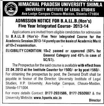 BA LLB Course (Himachal Pradesh University)