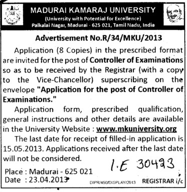 Controller of Examination (Madurai Kamaraj University)