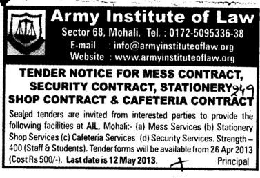 Mess Contract and Security services (Army Institute of Law)