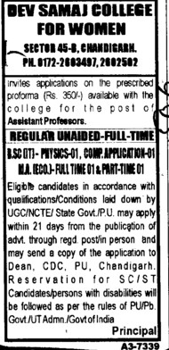 Asstt Professor for BSc (Dev Samaj College for Women)