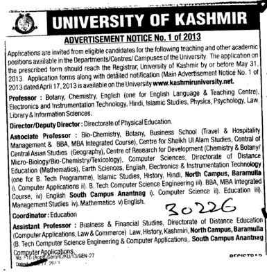 Deputy Director and Professor (Kashmir University)