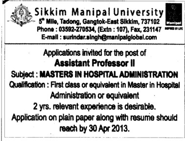 Asstt Professor (Sikkim Manipal University of Health Medical and Technological Sciences)