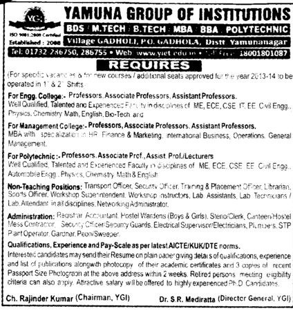 Professor and Lecturer (Yamuna Group of Institutions)