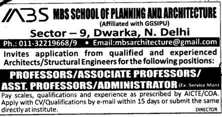 Asstt Professor and Administrator (MBS School of Planning and Architecture)