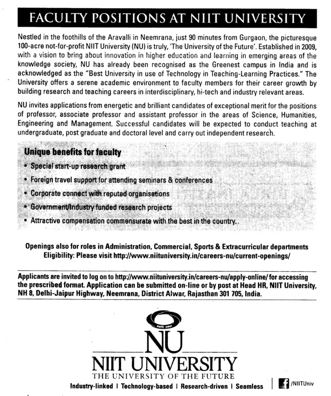 Various teaching posts (NIIT University)