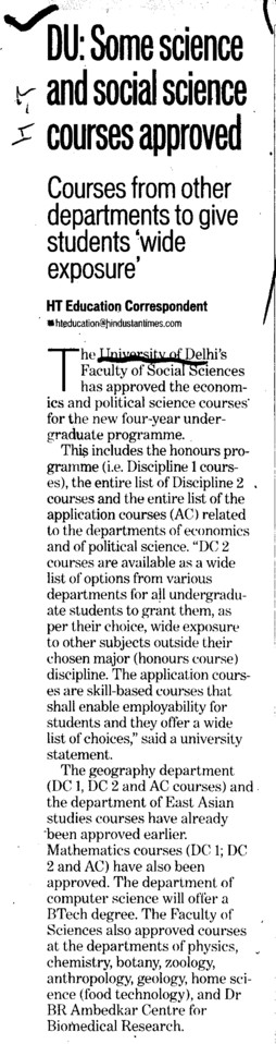 Science and Social Science courses approved (Delhi University)