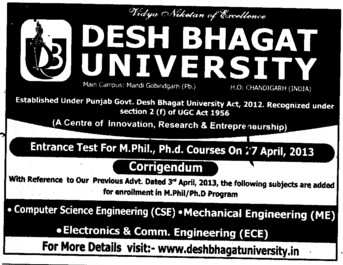 M Phil and PhD Programme (Desh Bhagat University)