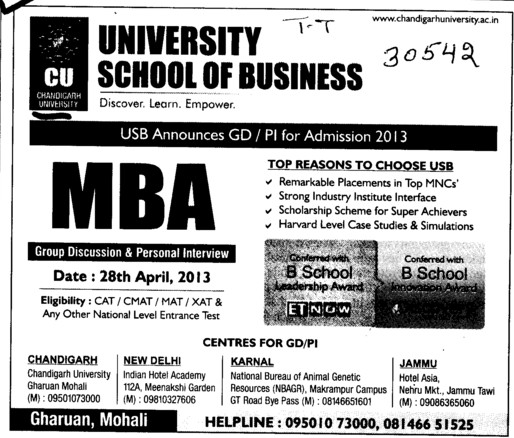 MBA (University School of Business Studies)