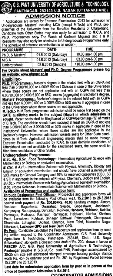 PhD and MCA (Govind Ballabh Pant University of Agriculture and Technology GBPUAT)
