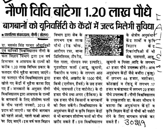 University bantega 1.20 lac podhe (Dr Yashwant Singh Parmar University of Horticulture and Forestry)