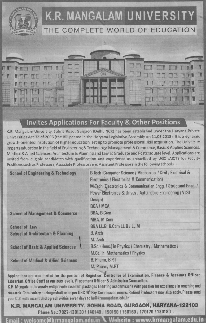 Faculty for UG and PG (KR Mangalam University)