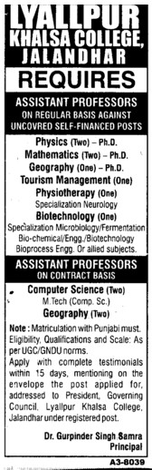 Asstt Professor for PCM (Lyallpur Khalsa College of Boys)