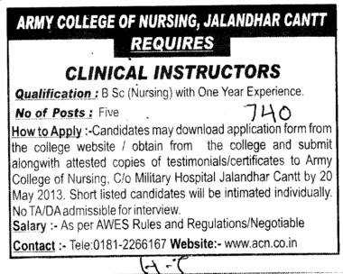 Clinical Instructors (Army College of Nursing)