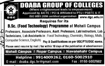 BSc Programme (Doaba Group of Colleges (DGC))