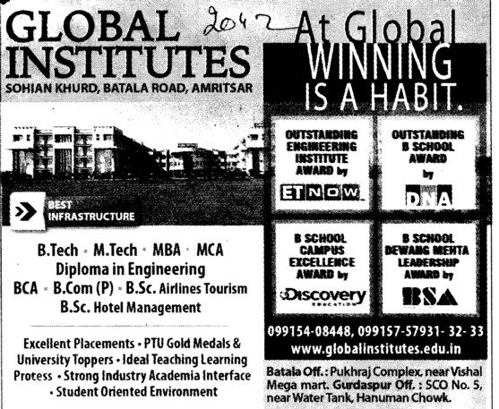 BTech, MBA and MCA (Global Institutes Group)