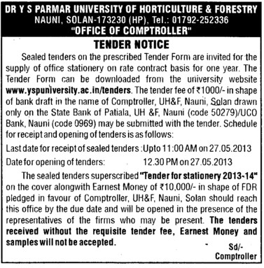 Office Stationery (Dr Yashwant Singh Parmar University of Horticulture and Forestry)