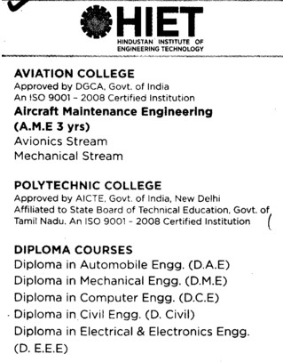 Diploma in Automobile Engineering (Hindustan Institute of Engineering Technology (HIET))