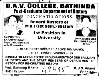 MA in History (MG DAV College)
