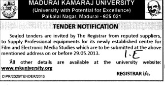 Professional Equipments (Madurai Kamaraj University)