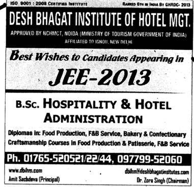 JEE 2013 (Desh Bhagat Institute of Hotel Management and Catering Technology)