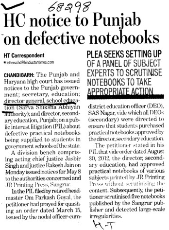 HC notice to Punjab on defective notebooks (Director General School Education DGSE Punjab)