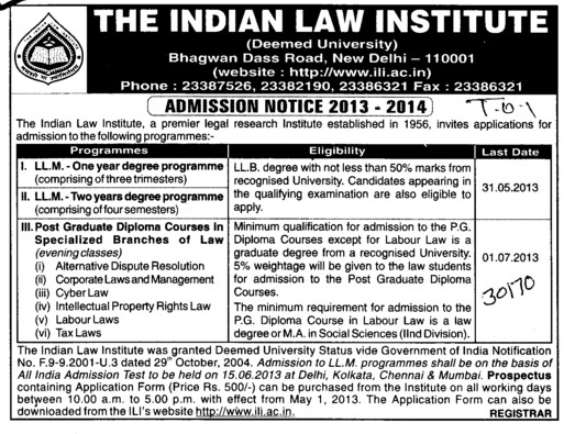 LLM (Indian Law Institute)