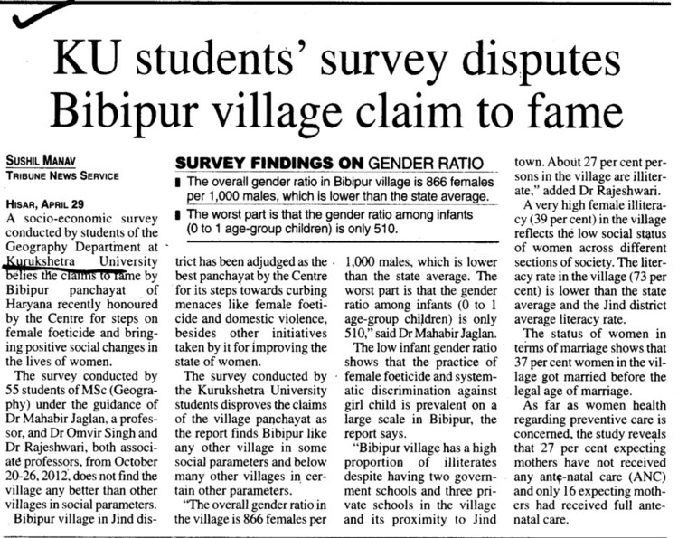 KU Students survey disputes Bibipur village (Kurukshetra University)