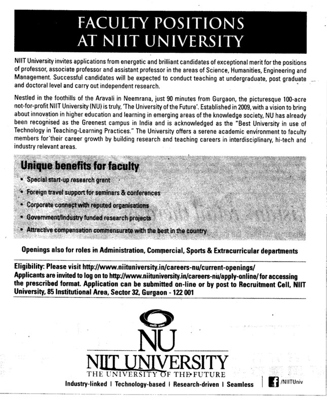 Asstt and Associate Professor (NIIT University)