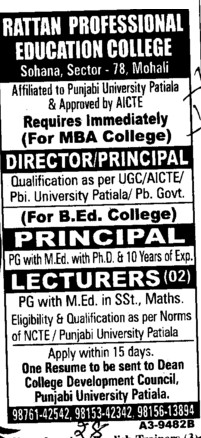 Director Principal and Lecturer (Rattan Professional Education Society, College of Nursing)