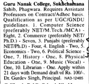 Professor on contract basis (Guru Nanak College)