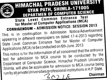 State Level Common Test for MCA (Himachal Pradesh Technical University HPTU)