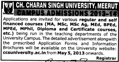M Ed, BPEd and certificate courses (Ch Charan Singh University)