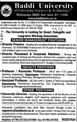 Asstt Professor and University Librarian (Baddi University of Emerging Sciences and Technologies)