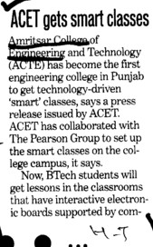 ACET gets smart classes (Amritsar College of Engineering and Technology ACET Manawala)