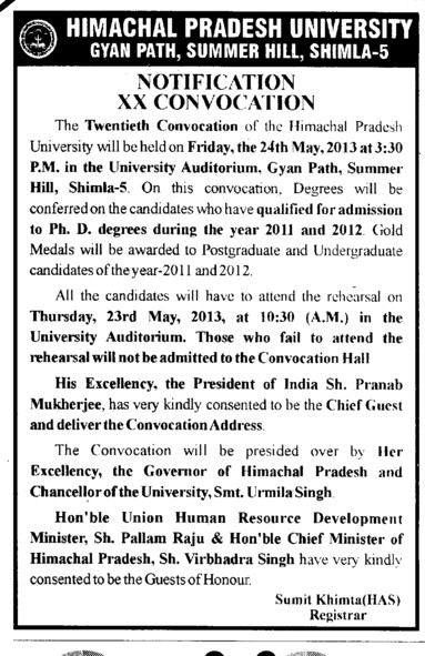 20th Convocation 2013 (Himachal Pradesh University)