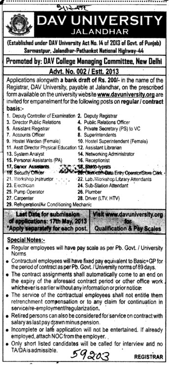 Senior Asstt and Pump Operator (DAV University)