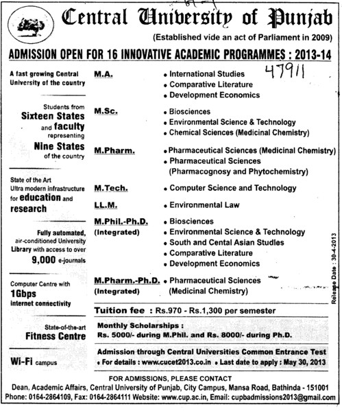 MA, MSc and M Pharm (Central University of Punjab)