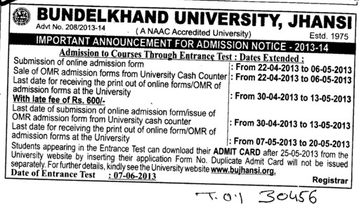 Admission to courses through Entrance Test (Bundelkhand University)