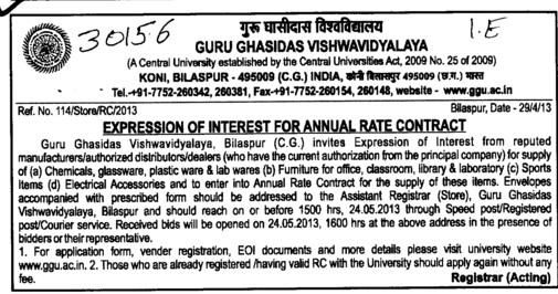 Supply of Chemicals (Guru Ghasidas University)